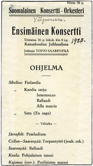 Suomalaisen Konsertti-Orkesterin 1. konsertti lokakuussa 1920.