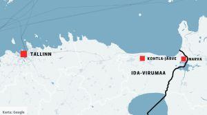 En karta som visar var Narva, Kohtla-Järve och Tallinn ligger.