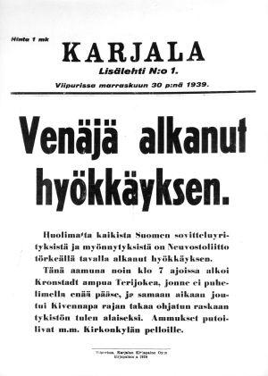 Karjala-lehden kansi 30.11.1939.