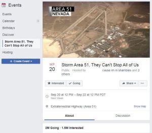 Area 51-meme, Facebook-eventet.