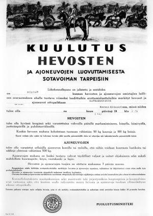 Kuulutus hevosten ja ajoneuvojen luovuttamisesta sotavoiman tarpeisiin (1939).