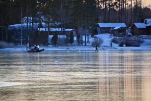 Till vänster syns en person som kör en hydrokopter på isen. I mitten finns fastfrusna svanar och till höger är en person som bär en svan. I bakgrunden syns stranden med träd och hus.