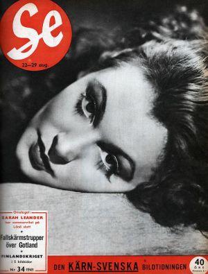 Zarah Leander på omslaget till tidskriften Se nr 34 år 1941.