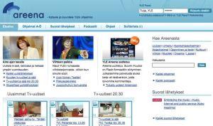 Kuvakaappaus Yle Areenan desktop-käyttöliittymästä 2009