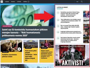 Kuvakaappaus Yle.fi etusivulta.