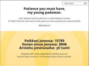 Ett meddelande på Finnkinos webbplats.