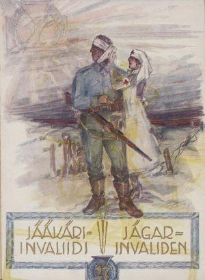 Pärmen till tidskriften Jääkäri-invaliidi Jägar-invaliden år 1928.