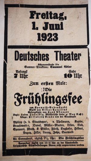 Deutsches Theaterin juliste 1923.