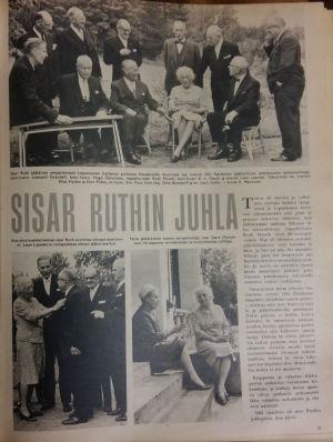 Uppslag i Suomen kuvalehti 1966 från Ruth Muncks födelsedagsmottagning.
