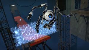 Kuva Portal 2 -pelistä, jossa robotti hyppää ilmaan.