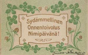 Neliapiloilla koristeltu nimipäiväkortti, jossa allekirjoitus Äiti jne