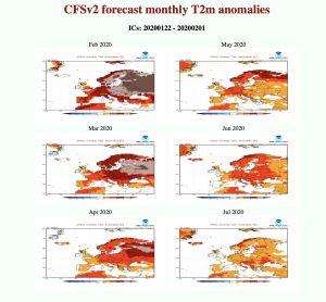 Långtidsprognosen för Europa under de kommande månaderna enligt amerikanska NOAA.
