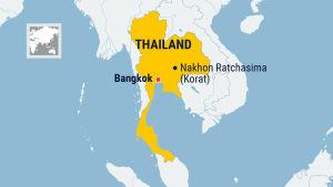 Thailand är gulfärgat. Staden Korat och Bangkok utmärkta.