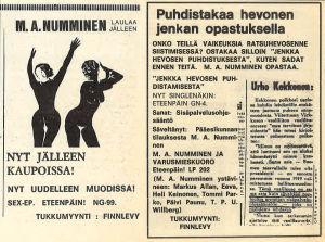 Eteenpäin!-levymerkin ilmoituksia mm. M. A. Nummisen levyistä Stump-lehdessä.