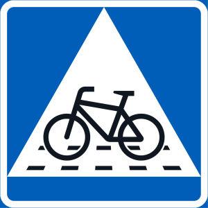 Trafikmärke; Väjningsplikt. Överfartsställe för cyklister.