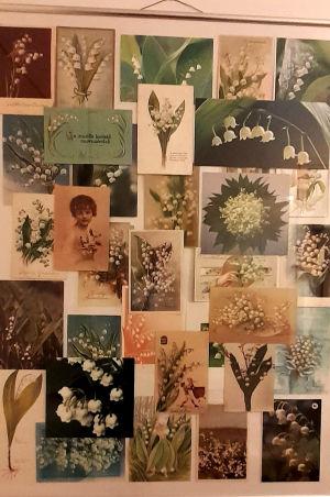 Kort med liljekonvaljer. Första av moster för 55 år sedan.