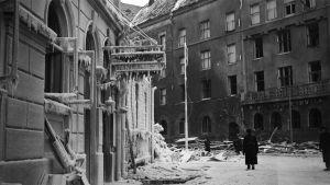 Hotelli Finlandia Viipurin Repolankadulla tuhoutui täysin talvisodassa.