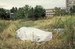 Asunnoton on rakentanut muovista väliaikaisen suojan Helsingissä (1991)