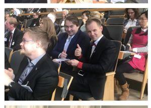 Riksdagsledamot Mika Niikko med kinesisk tulldelegation i Finlands riksdag.