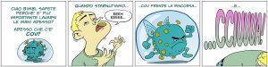 En tecknad seriestrip om corona på italienska.