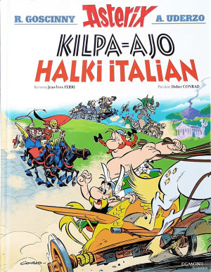 """Asterix-albumin kansi """"Kilpa-ajo halki Italian"""""""