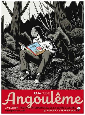 Poika lukee Tinttiä hämärässä metsässä Charles Burnsin piirtämänä.