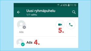 Kuvakaappaus Whatsapp-sovelluksesta: Lisää jäsen -toiminto vie puhelimen yhteystietojen luetteloon.