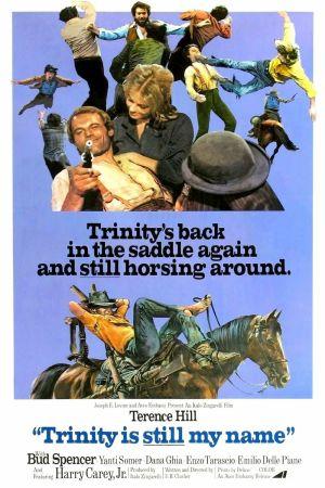 Trinity ratsastaa jälleen -elokuvan englanninkielinen juliste.