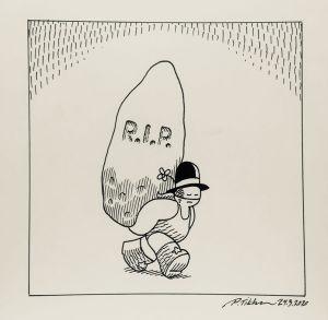 Black Peider -sarjakuvahahmo kantaa hiidenkiveä, jossa lukee RIP.