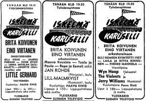 Iskelmäkaruselli-ohjelman suorien yleisölähetysten mainoksia Helsingin Sanomissa 1961-1962.