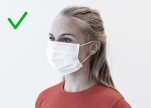 Bild på rätt sätt att bära munskydd. Näsan, munnen och hakan är täckta.