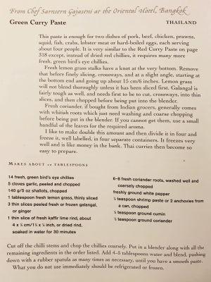 Thaimaalaisen green curry -kastikkeen resepti englanniksi.