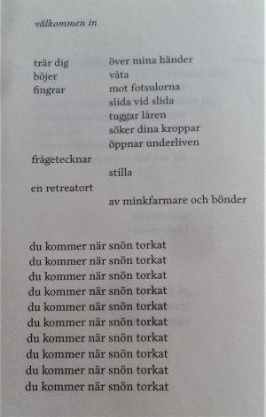"""En dikt av Lina Bonde ur samlingen """"tecknar snö""""."""