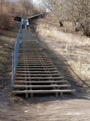 Kuntoilijoiden suosimat portaat Malminkartanon täyttömäellä.
