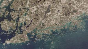 En satellitbild över Raseborg och Hangö där Pojoviken har en brunare ton än den blågröna Finska viken.