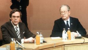 Kalevi Kivistö ja Jan-Magnus Jansson vaalikeskustelussa 1982