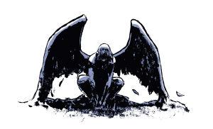 Piirroskuva enkelistä joka istuu ja katsoo alaspäin.