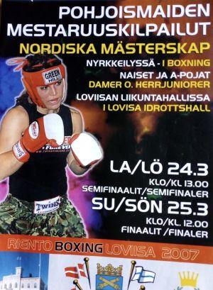 Programblad för nordiska mästerskapen i boxning i Lovisa 2007.