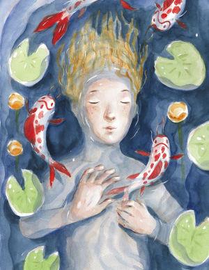"""Illustration ur bilderboken """"Under månen"""" av Ilja Karsikas."""
