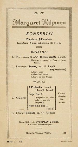 Käsiohjelma pianisti Margaret Kilpisen ensikonsertista 9. huhtikuuta 1927 Helsingin Yliopiston juhlasalissa.