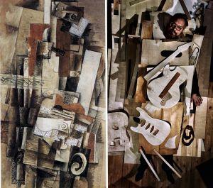 Toisinto Braquen teoksesta Mies ja kitara.
