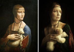 Toisinto Leonardon Nainen ja kärppä -maalauksesta