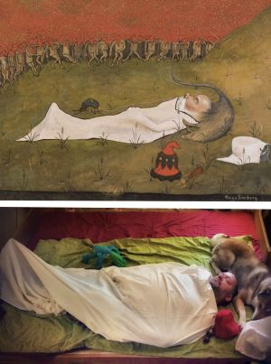 Toisinto Hugo Simbergin teoksesta Tonttukuningas nukkuu.