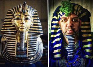 Toisinto faarao Tutankhamonin kuolinmaskista.