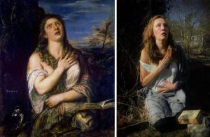 Toisinto Tizianin maalauksesta Katuva Maria Magdalena.