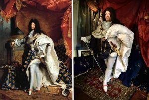 Toisinto Rigaudin muotokuvasta, joka esittää Ranskan Aurinkokuningasta.
