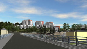 En ritning över en vy från en järnvägsbro där bland annat tre femvåningshus syns.