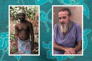 Kaksi kuvaa: voodoo-pappi Améhou Dagué ja ranskalainen dokumentaristi Bruno Jouanin (oik.)