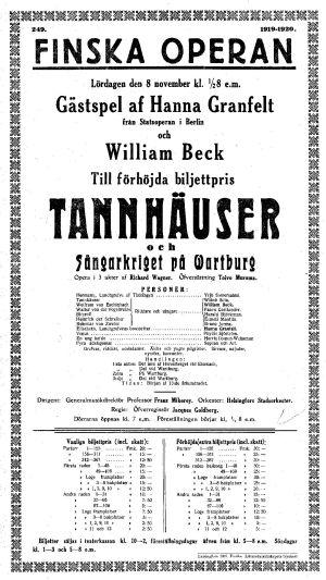 Suomalaisen Oopperan ohjelma 8. marraskuuta 1919.