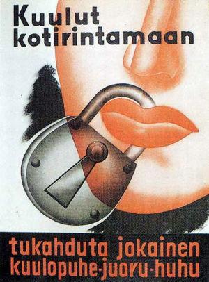 Kuulut kotirintamaan -juliste 1940-luvulta